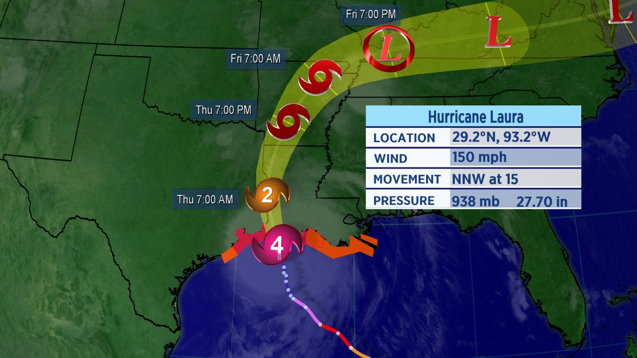 Laura Makes Landfall As Category 4 Hurricane Thursday Morning