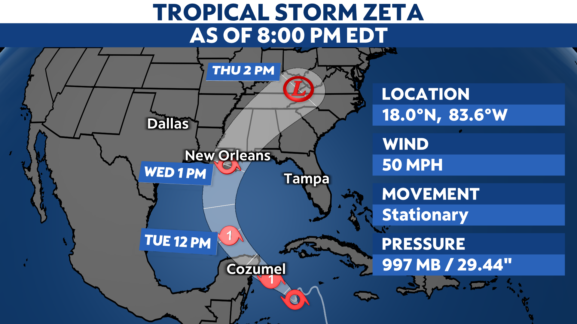 Tropical Storm Zeta to Head North, Yucatán Under Hurricane Warning
