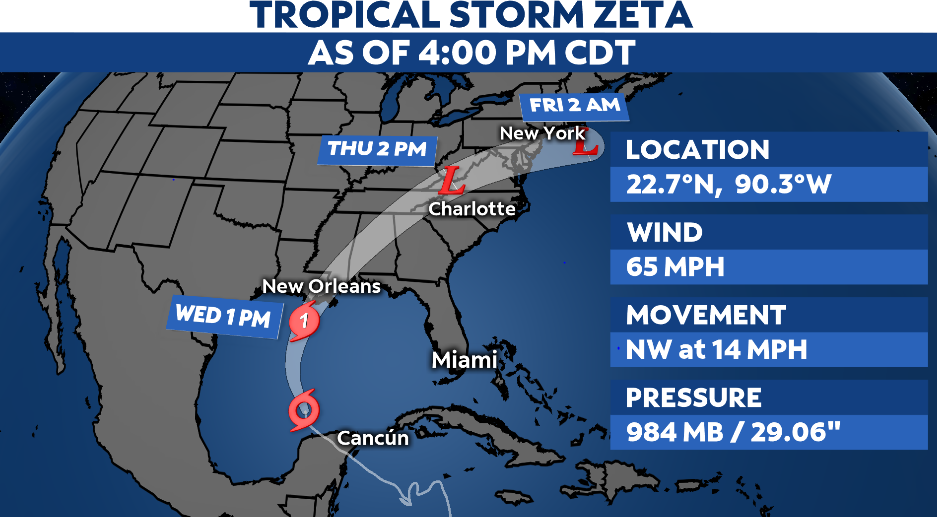 Hurricane Warning in Effect for Gulf Coast as Zeta Approaches